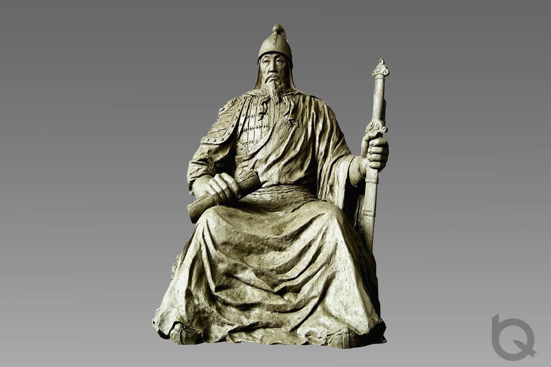 博仟人物雕塑制作厂家铸造的一手拿书一手拿宝剑的张保皋